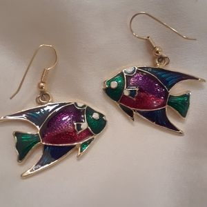 Fish cloissione enamel earrings
